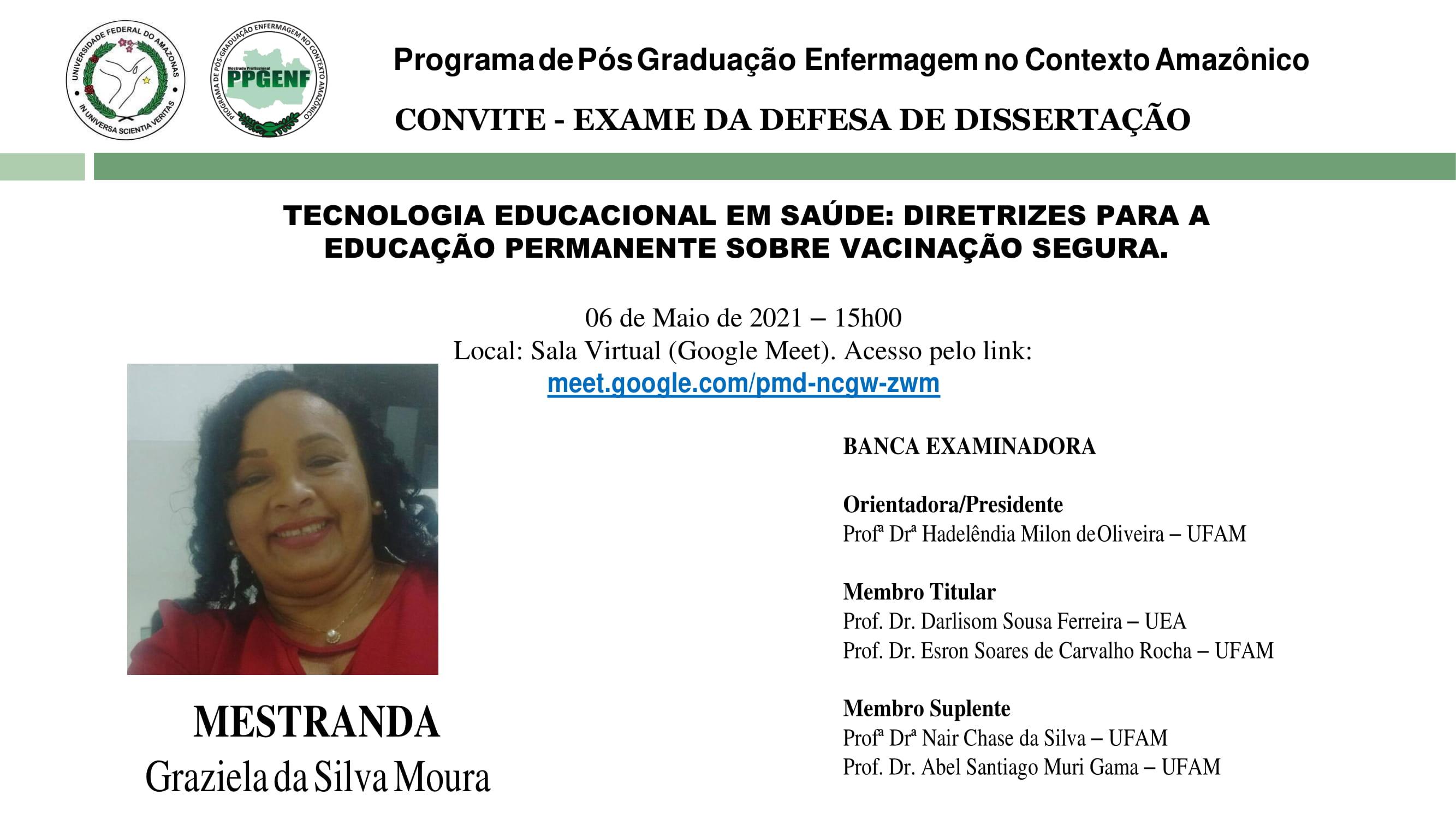 CONVITE EXAME DE QUALIFICAÇÃO - Graziela da Silva Moura